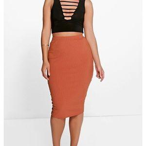 Boohoo Plus   Ribbed Skirt
